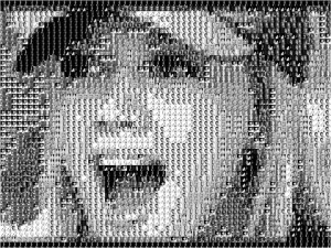 Mosaic picture of Hillary Duff built with 23 images